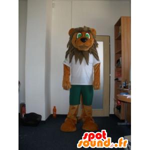 Marrone e beige mascotte leone con gli occhi verdi - MASFR032011 - Mascotte Leone