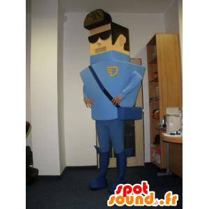 Mascot faktor, kurer, kledd i blått - MASFR032013 - Man Maskoter