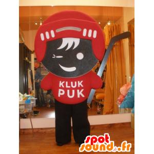 χόκεϊ μασκότ με κόκκινο φόρεμα και καφέ - MASFR032014 - σπορ μασκότ