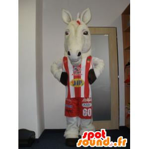 Mascot realistisch weißes Pferd in der Sportkleidung - MASFR032015 - Maskottchen-Pferd