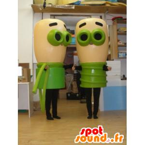 2 mascotes de lâmpadas bege e verdes. 2 lâmpadas - MASFR032020 - mascotes Bulb