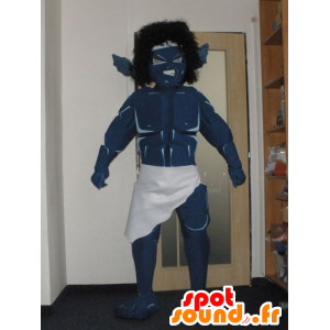 Mascotte de monstre, de guerrier bleu, très impressionnant - MASFR032022 - Mascottes de monstres