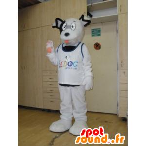 Mascot hvit og svart hund, søt, morsom, hårete - MASFR032030 - Dog Maskoter