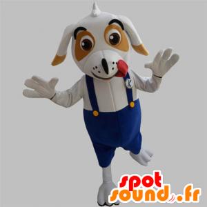 Weiße und braune Hund Maskottchen mit Overalls - MASFR032036 - Hund-Maskottchen
