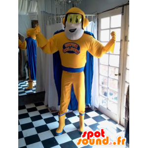 Superhero mascot holding yellow and blue - MASFR032037 - Superhero mascot