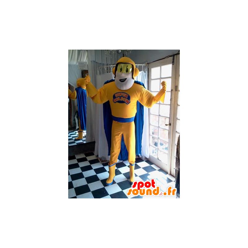 Superhero mascot holding yellow and blue - MASFR032037 - Superhero mascot