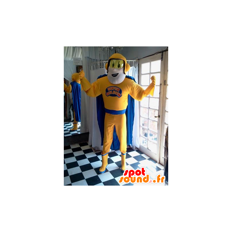 Superhrdina maskot drží žluté a modré - MASFR032037 - superhrdina maskot