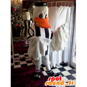 Mascotte de canard blanc, habillé avec un maillot de foot - MASFR032038 - Mascotte de canards
