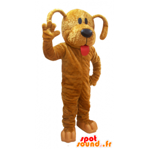 Giant brown dog mascot with a large tongue - MASFR032040 - Dog mascots