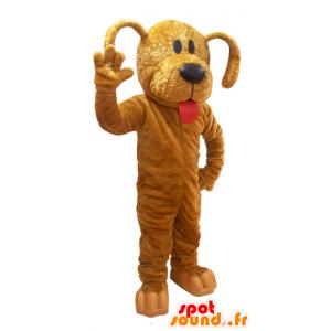 Jättiläinen ruskea koira maskotti on suuri kieli - MASFR032040 - koira Maskotteja