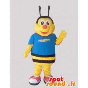 Mascot gelbe und schwarze Biene, in Blau gekleidet - MASFR032051 - Maskottchen Biene