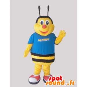 Mascot yellow and black bee, dressed in blue - MASFR032051 - Mascots bee