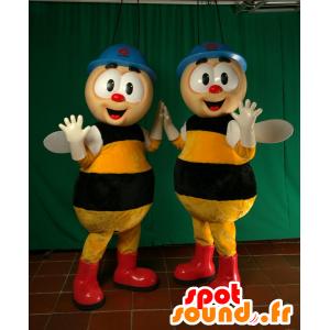 2 mascots Bienen, die Arbeit mit Kopfhörern - MASFR032052 - Maskottchen Biene