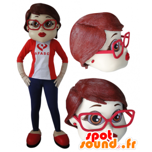 Mascotte de femme élégante avec des lunettes - MASFR032056 - Mascottes Femme