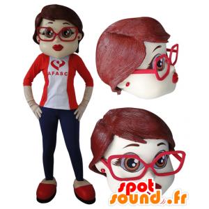 Elegant kvindelig maskot med briller - Spotsound maskot kostume
