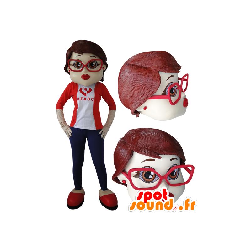 Elegant woman with glasses mascot - MASFR032056 - Mascots woman