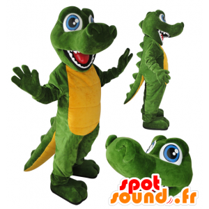 Green and yellow crocodile mascot, blue eyes