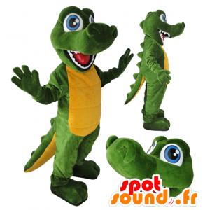 Mascotte de crocodile vert et jaune, aux yeux bleus