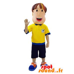 Man Maskottchen, Schiedsrichter mit einem gelben und blauen Outfit - MASFR032063 - Menschliche Maskottchen