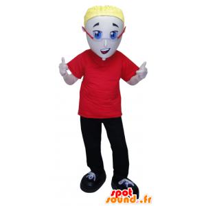 Mies maskotti pukeutunut punaiseen ja musta lasit - MASFR032064 - Mascottes Homme
