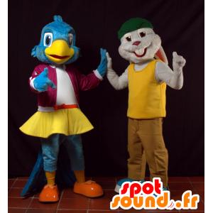 2 maskotki niebieski ptaków i szary królik - MASFR032069 - ptaki Mascot