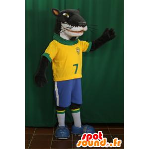 Hund Maskottchen, schwarz und weiß Frettchen in der Sportkleidung - MASFR032072 - Sport-Maskottchen
