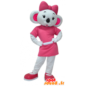 Koala mascot white and pink, very feminine