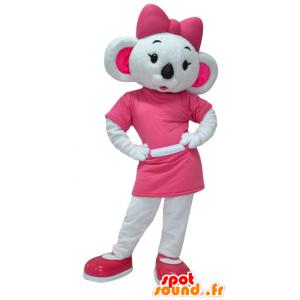 Mascotte de koala blanc et rose, très féminin