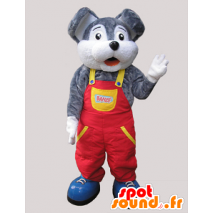 Graue und weiße Maskottchen Maus in Overalls gekleidet - MASFR032088 - Maus-Maskottchen