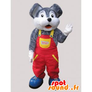 Gris y blanca de la mascota del ratón vestido con un mono - MASFR032088 - Mascota del ratón