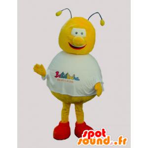 La mascota de la abeja amarillo y rojo, redondo y divertido - MASFR032090 - Abeja de mascotas