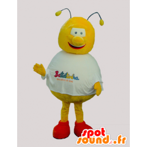 Mascotte ape giallo e rosso, rotondo e divertente - MASFR032090 - Ape mascotte