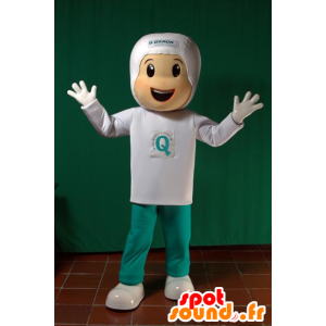 Boy mascot dressed in white and green. futuristic mascot - MASFR032093 - Mascots boys and girls