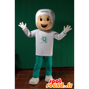 Jongen mascotte gekleed in wit en groen. futuristische mascotte - MASFR032093 - Mascottes Boys and Girls
