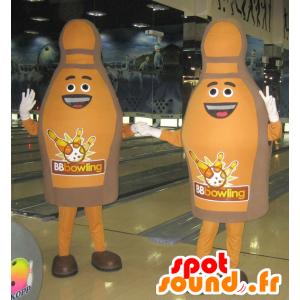 2 mascots Bowling Bowling braun und lächelnd - MASFR032094 - Maskottchen von Objekten