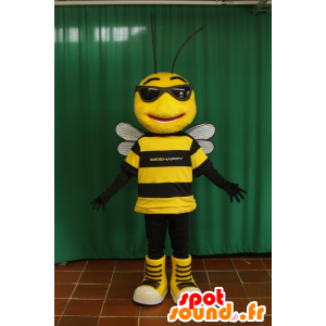 Mascot of black and yellow bee with sunglasses - MASFR032096 - Mascots bee