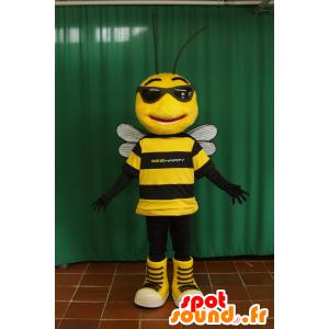 Mascotte di ape nero e giallo con gli occhiali da sole - MASFR032096 - Ape mascotte