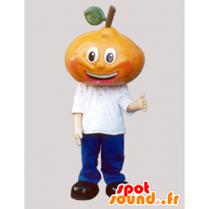 La mascota de la pera gigante, vestida de azul y blanco - MASFR032097 - Mascota de la fruta