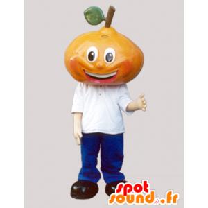 Mascotte pera gigante, vestita di blu e bianco - MASFR032097 - Mascotte di frutta