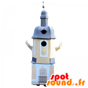 Lighthouse mascot, church, beige and blue monument - MASFR032098 - Mascots of objects