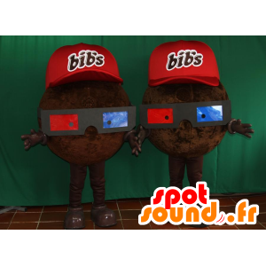 2 mascottes Bib 's, van chocolade snoep - MASFR032099 - Fast Food Mascottes