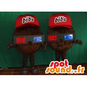 2 mascottes de Bib' s, de bonbons chocolatés - MASFR032099 - Mascottes Fast-Food