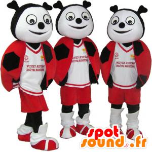 3 mascots roten Marienkäfer, schwarz und weiß - MASFR032101 - Maskottchen Insekt