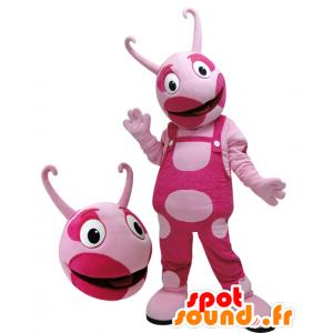 Pink creature mascot, bicolor. pink mascot - MASFR032104 - Monsters mascots