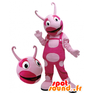 Mascote criatura rosa, bicolor. mascote rosa - MASFR032104 - mascotes monstros