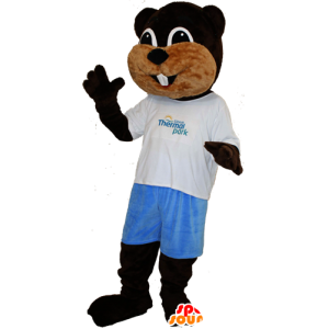 Mascot beaver brown and beige, soft and cute