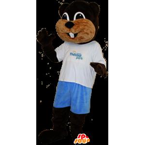 Mascot hnědé a béžové bobr, sladké a šikovný
