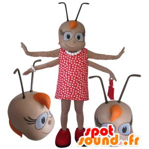 Weibliche Insekt Maskottchen 4 Arme mit Antennen - MASFR032110 - Maskottchen Insekt