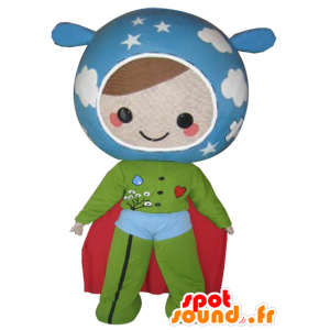 Doll mascot in the colors of the Earth. Super hero - MASFR032112 - Superhero mascot