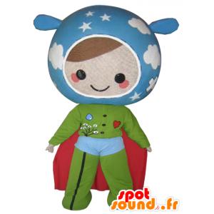 Mascote boneca nas cores da Terra. super-herói
